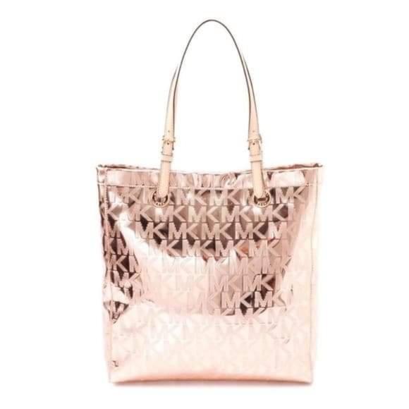 MICHAEL KORS Signature rosegold metallic tote bag